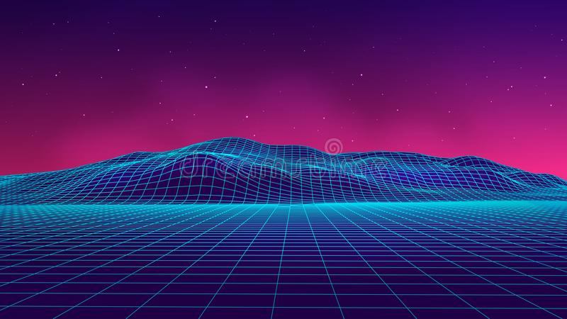 Abstract futuristic landscape 1980s style. Vector illustration 80s party background . 80s Retro Sci-Fi background. royalty free illustration