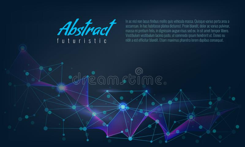 Abstract futuristic Molecules or dna with polygonal line background. Vector illustration. royalty free illustration
