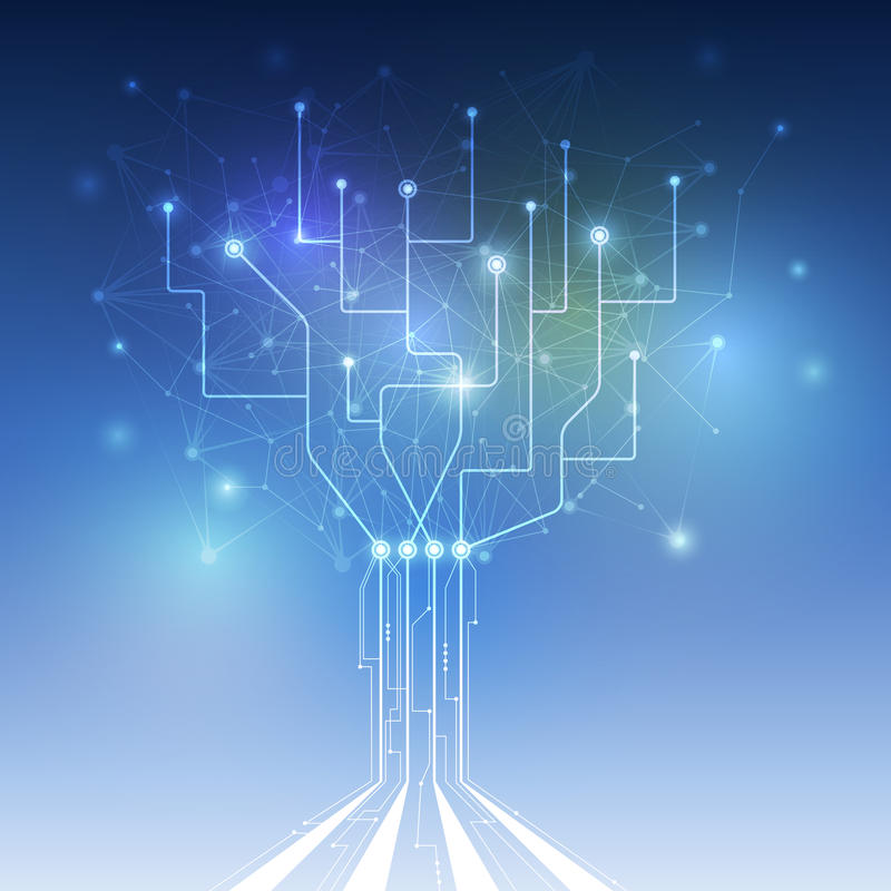 Abstract futuristic - Molecules technology with circuit board. In shape of tree. Illustration Vector design digital technology concept. Blue color stock illustration