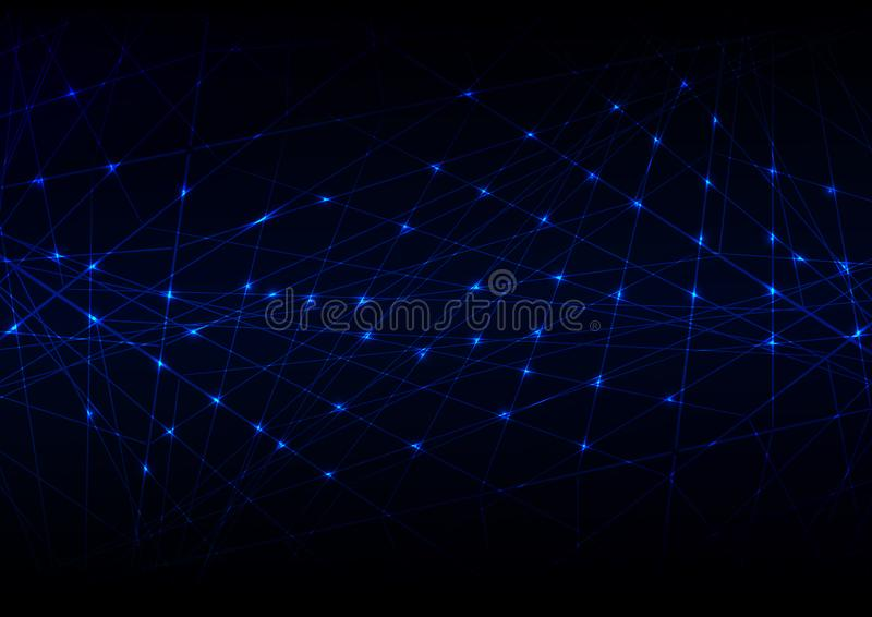 Abstract futuristic Molecules technology with linear and polygonal pattern shapes on dark blue background. Illustration Vector. Design digital technology stock photography