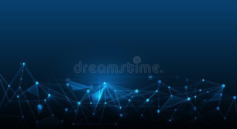 Abstract futuristic - Molecules technology background. Abstract futuristic - Molecules technology with polygonal shapes on dark blue background. Illustration royalty free illustration