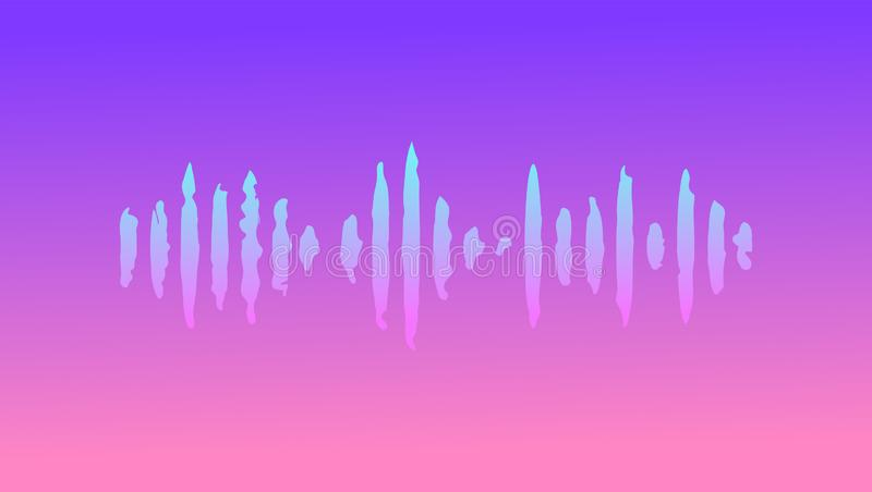 Abstract Futuristic Music wave. Cyberpunk. Electronic music. Deep house. Synthwave style 80s - 90s. Vaporwave. Retrowave. Vector royalty free illustration