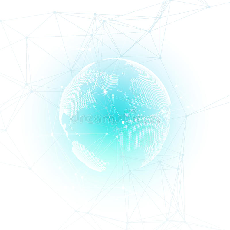 Abstract futuristic network shapes. High tech background, connecting lines and dots, polygonal linear texture. World. Abstract futuristic network shapes. High royalty free illustration