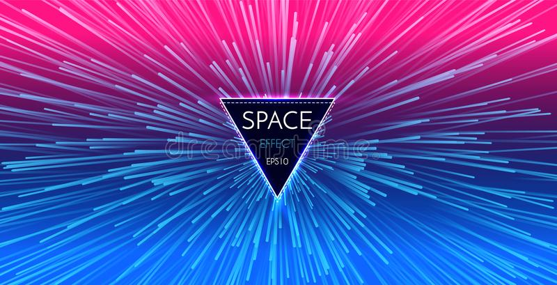 Abstract Futuristic Perspective and Motion Light Background. Star Warp in Hyperspace. Space Jump. Vector illustration stock illustration