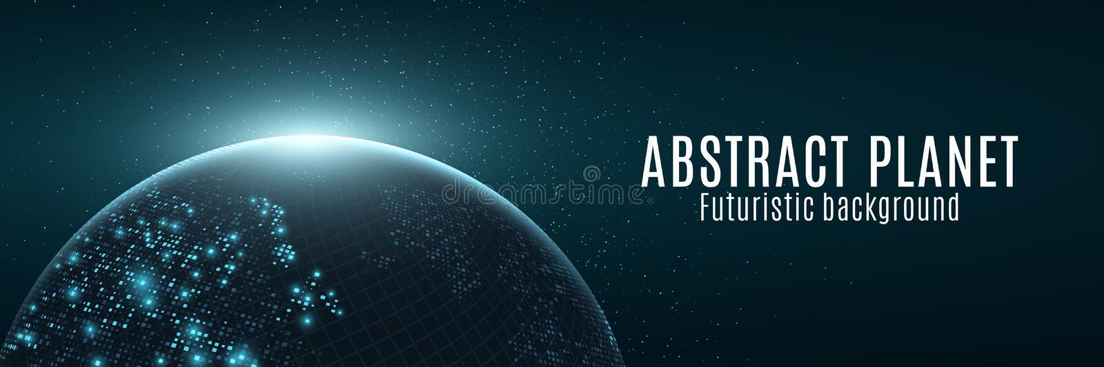 Abstract futuristic planet earth. Glowing map of square dots. Modern background. Space composition. Blue glow. Web banner. World stock illustration