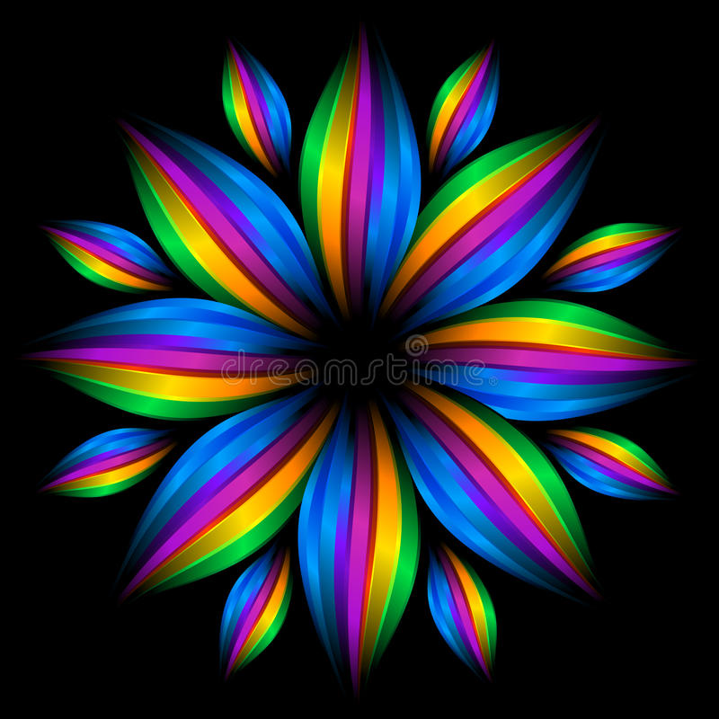 Abstract futuristic rainbow flower. The Abstract rainbow flower on black background royalty free illustration