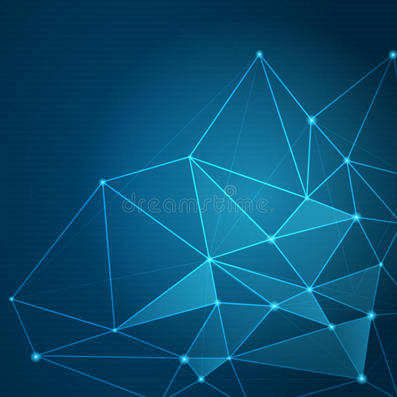 Abstract futuristic shape. Computer generated on blue background stock illustration