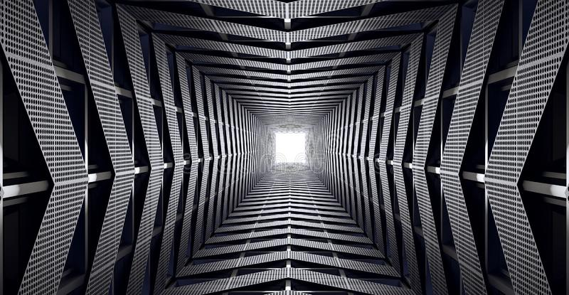 Abstract futuristic speed tunnel, modern geometric concept 3d render royalty free illustration