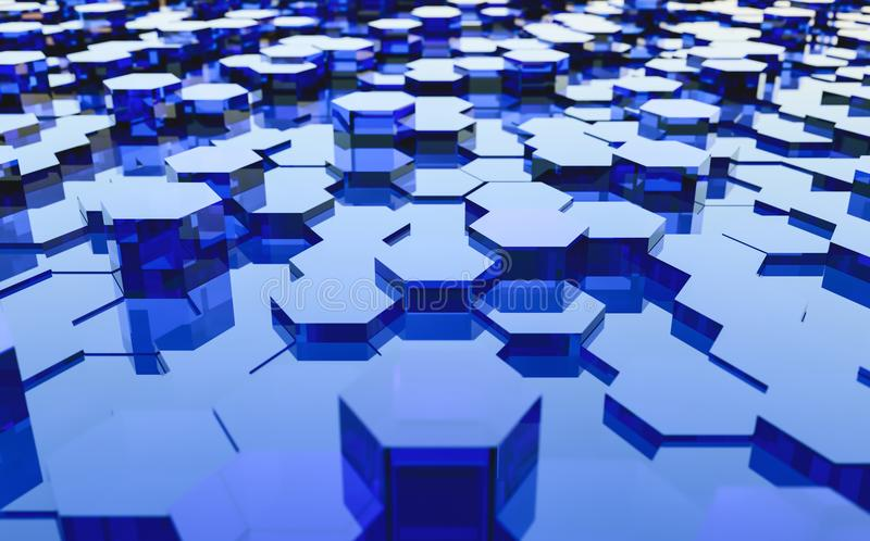 Abstract futuristic surface hexagon pattern with light rays stock photography