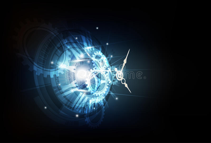 Abstract Futuristic Technology Background with Clock concept and Time Machine, vector royalty free illustration