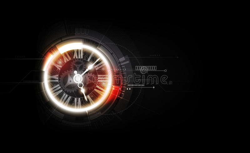 Abstract Futuristic Technology Background with Clock concept and Time Machine, vector illustration royalty free illustration