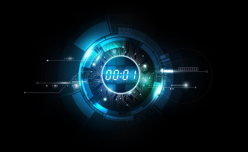 Abstract Futuristic Technology Background with Digital number timer concept and countdown, vector illustration royalty free illustration
