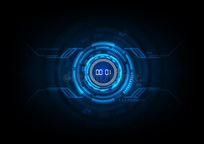 Abstract Futuristic Technology Background with Digital number timer concept and countdown stock illustration