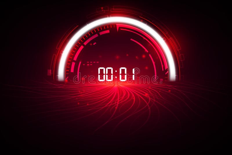 Abstract Futuristic Technology Background with Digital number timer concept and countdown, vector transparent vector illustration
