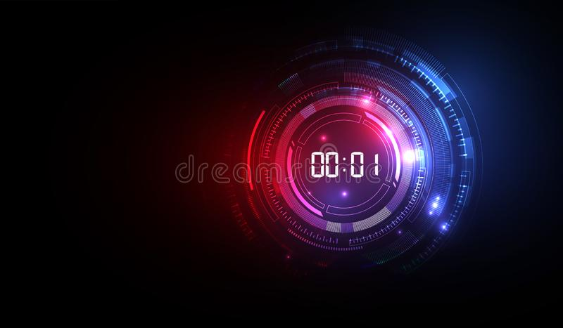 Abstract Futuristic Technology Background with Digital number timer concept and countdown, vector transparent stock illustration