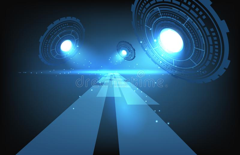 Abstract Futuristic Technology Background of digital path way royalty-vrije illustratie