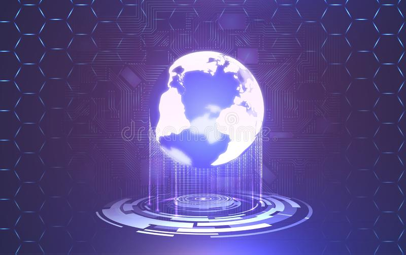 Abstract futuristic technology background with world element stock photography