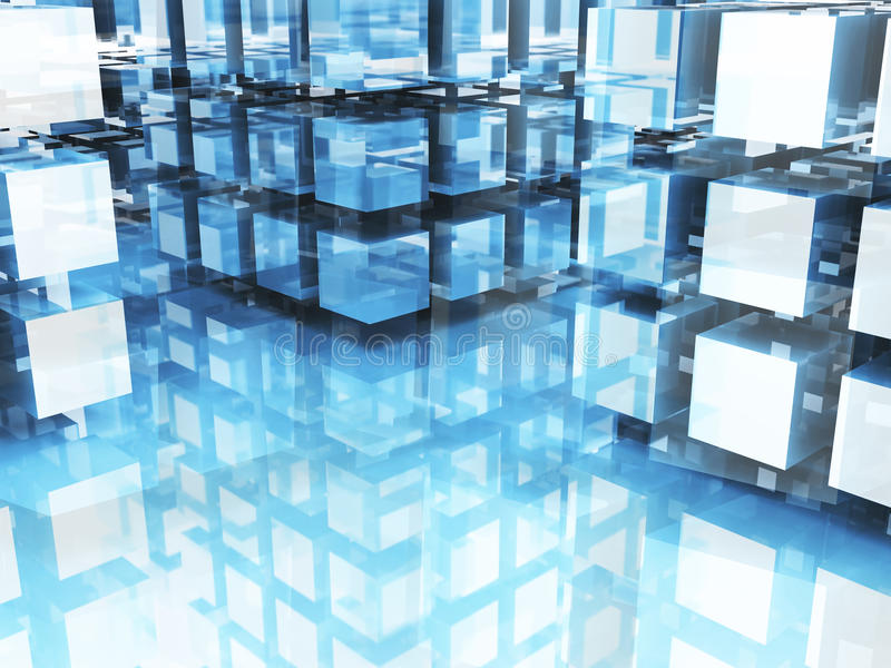 Abstract Futuristic Technology Glass Blocks Pattern Background. 3d Render Illustration stock photography