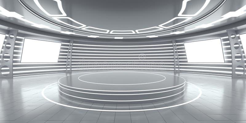 Abstract futuristisch binnenland met gloeiende panelen royalty-vrije stock foto