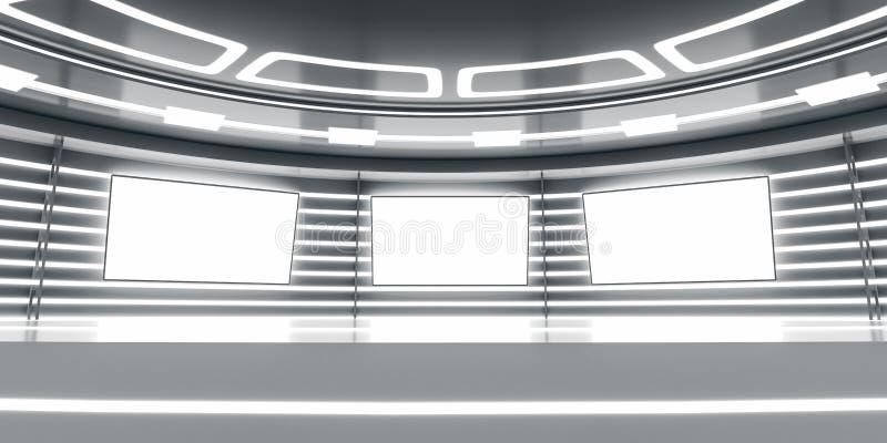 Abstract futuristisch binnenland met gloeiende panelen vector illustratie