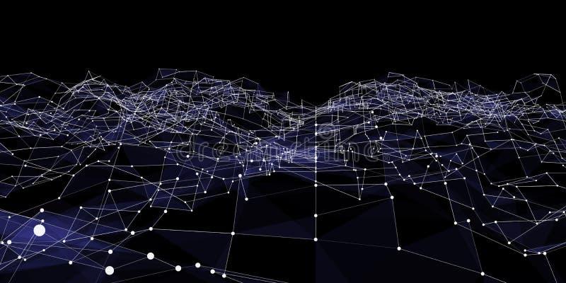 Abstract futuristisch digitaal landschap met punten en lijnen De geometrische digitale structuur van verbindingsdeeltjes Futurist vector illustratie
