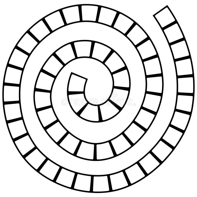 Abstract futuristisch spiraalvormig labyrint, patroonmalplaatje voor kinderen` s spelen, witte vierkanten Zwarte die contour op w stock illustratie