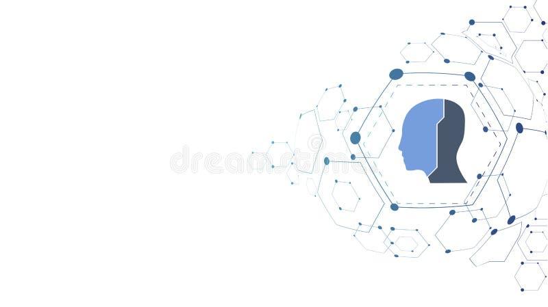 Abstract futuristisch technologiehoofd royalty-vrije illustratie