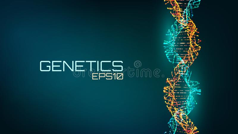 Abstract fututristic dna helix structure. Genetics biology science background. Future medical technology. royalty free illustration