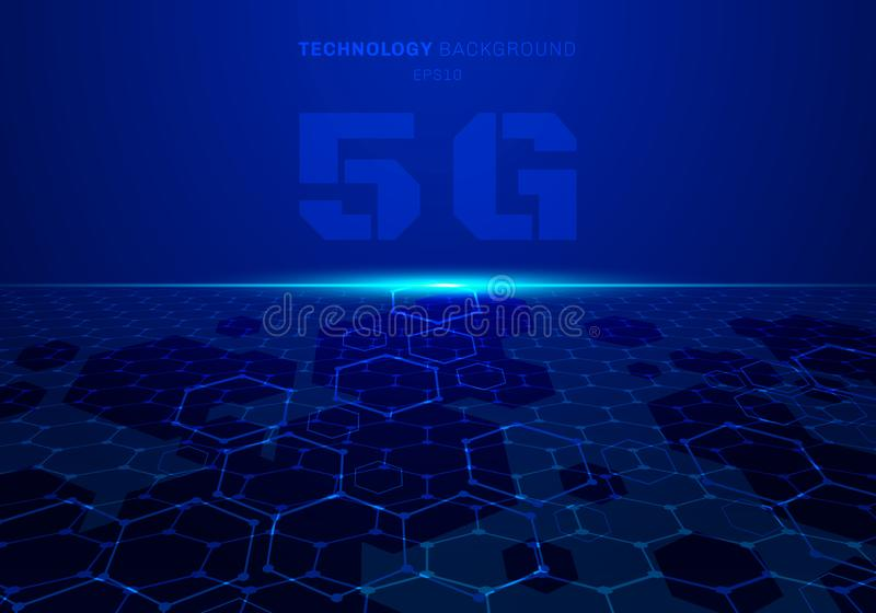 Abstract 5G fururistic concept blue technology hexagon pattern perspective background with light explode vector illustration