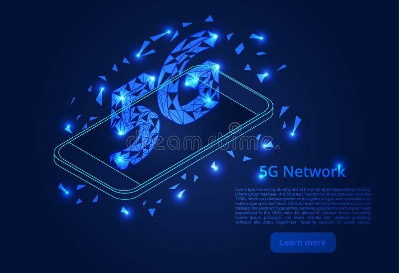 Abstract 5G network mobile data transmission. New wireless internet wifi connection. isometric vector concept.  stock illustration