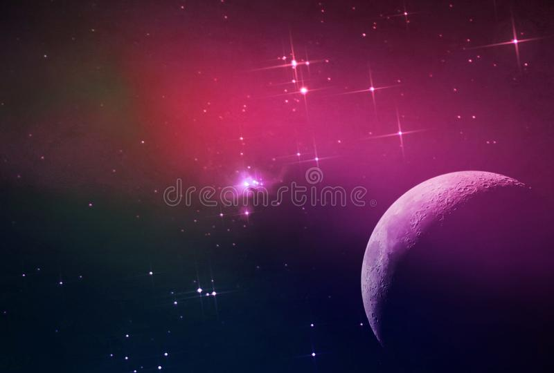 Abstract galaxy background with stars and planets with galaxy motifs in purple and pink space light night universe. With the best quality and resolution royalty free stock photo