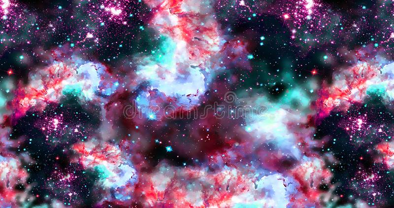 Abstract galaxy background with stars and planets with unique colored motifs of the universe night light space vector illustration