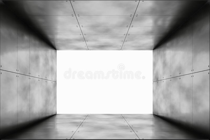 Abstract Garage Showroom Corridor. 3D Illustration. Abstract Garage Showroom Corridor Concrete Reflective. Empty Space and White Glow. 3D Illustration vector illustration