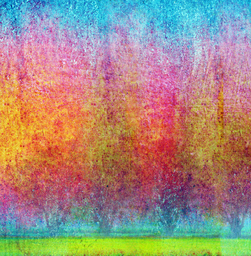 Abstract garden. Abstract colorful of trees in the garden, impressionist's style stock photography