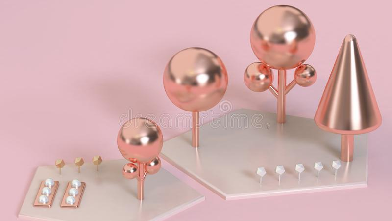 abstract garden,pink-rose gold metallic trees pink ground,garden concept 3d render stock illustration