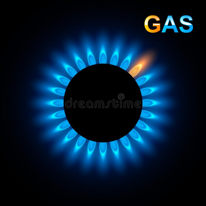 Abstract Gas burner with blue flame. Vector background royalty free illustration