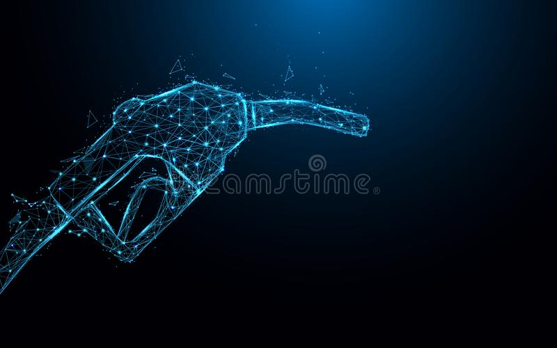 Abstract gas pump form lines and triangles, point connecting network on blue background. Illustration vector stock illustration