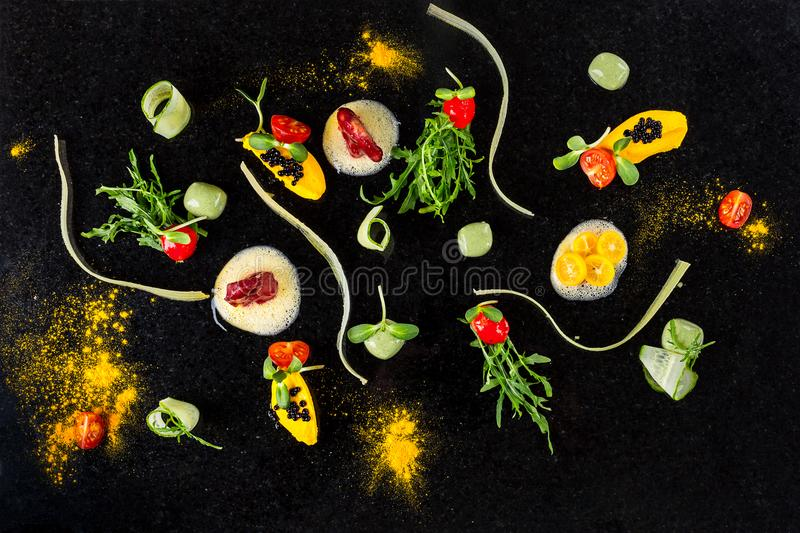 Abstract gastronomy vanguard concept molecular cuisine background royalty free stock photography