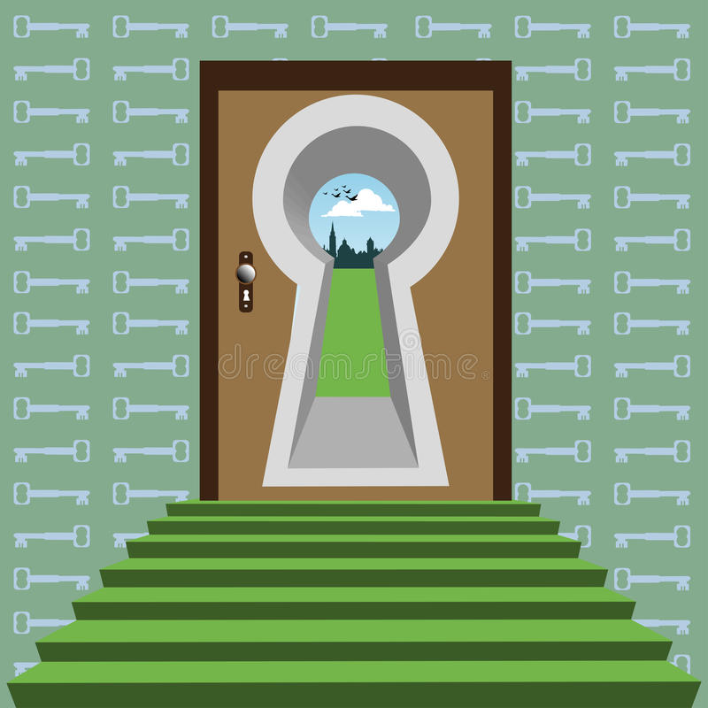 Abstract gate. Abstract colorful illustration with stairs, door and a massive keyhole in the door. Gate concept stock illustration