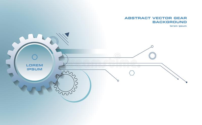 Abstract gear vector background with lines in blue color royalty free illustration