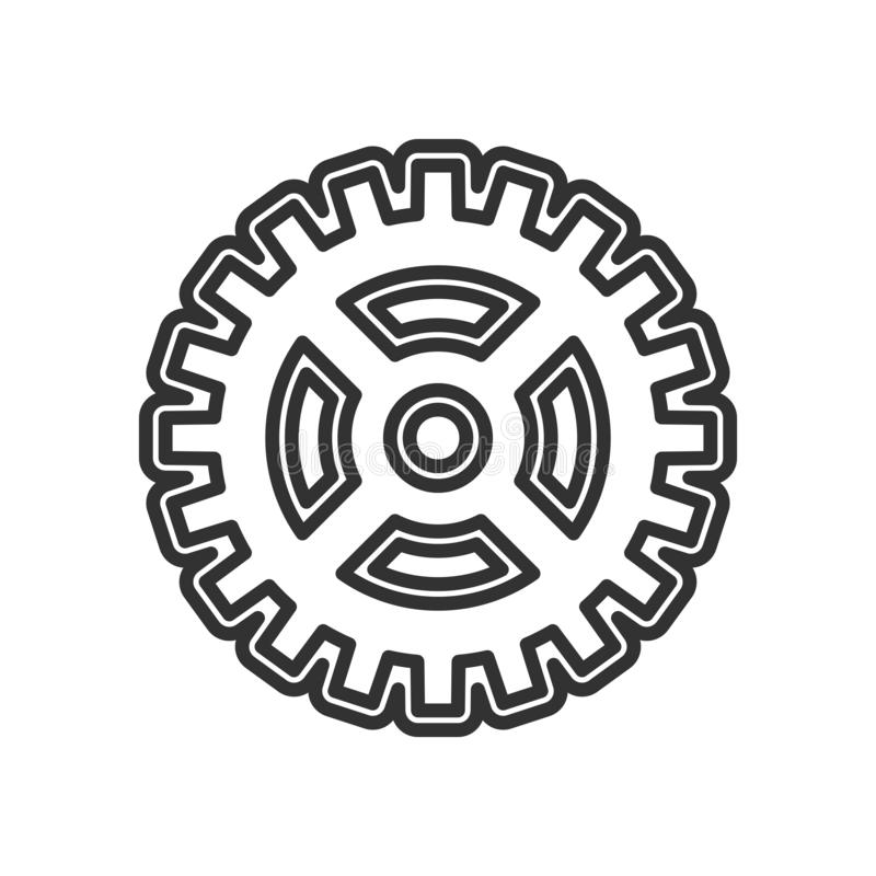 Abstract Gear Wheel Outline Icon on White vector illustration