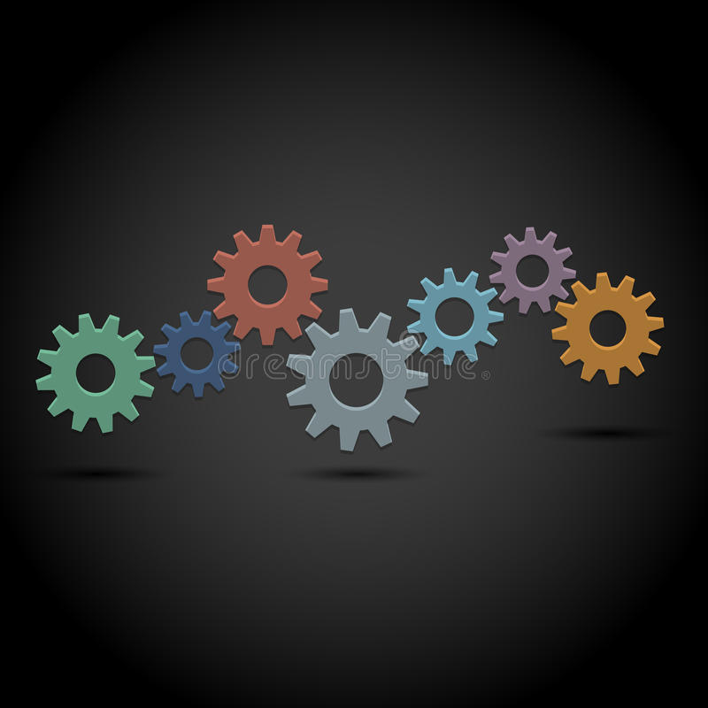 Abstract gear wheels on black background stock illustration