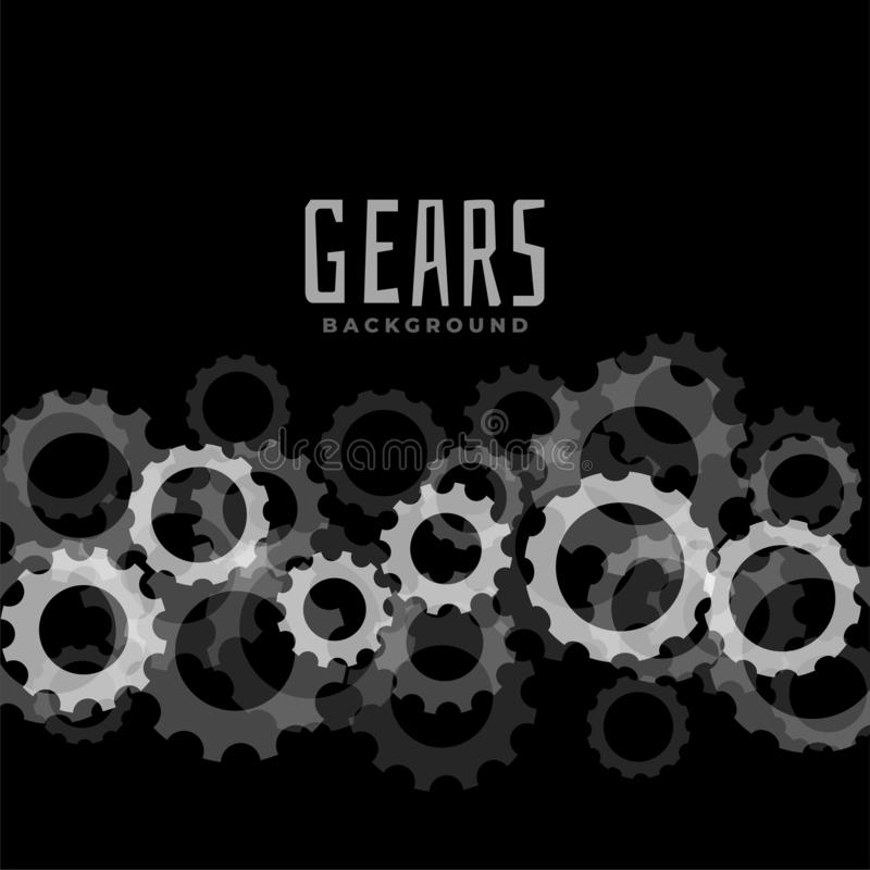 Abstract gears black background design royalty free illustration