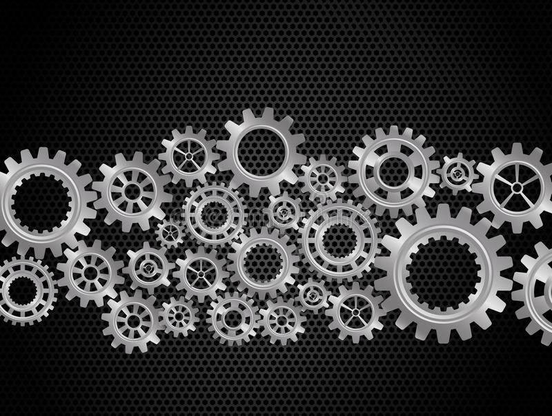 Abstract Gears on Black Background vector illustration
