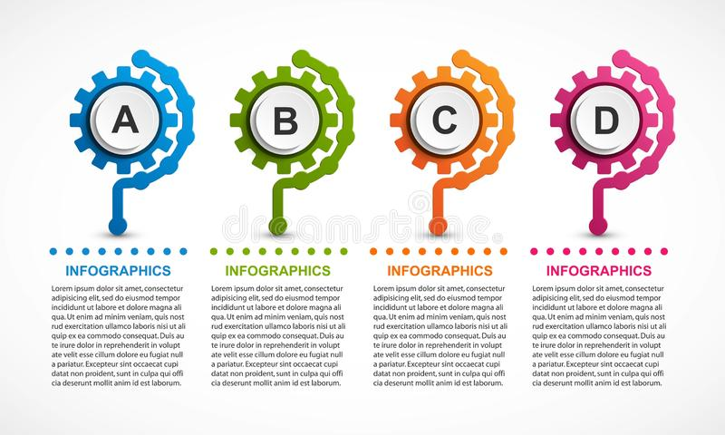 Abstract gears infographic. Design element. Infographics for business presentations or information banner royalty free illustration