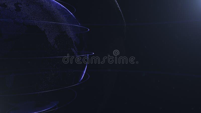 Abstract Gebied Gewassenfoto Verbonden marineblauwe punten met lijnen Globaliseringsinterface De planeet is gelegen aan stock illustratie