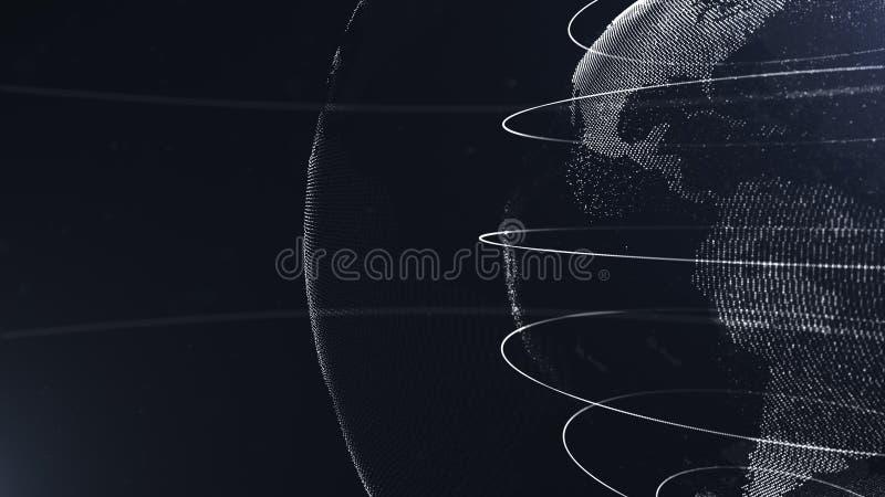 Abstract Gebied Gewassenfoto Verbonden witte punten met lijnen Globaliseringsinterface De planeet is gelegen aan het recht royalty-vrije illustratie