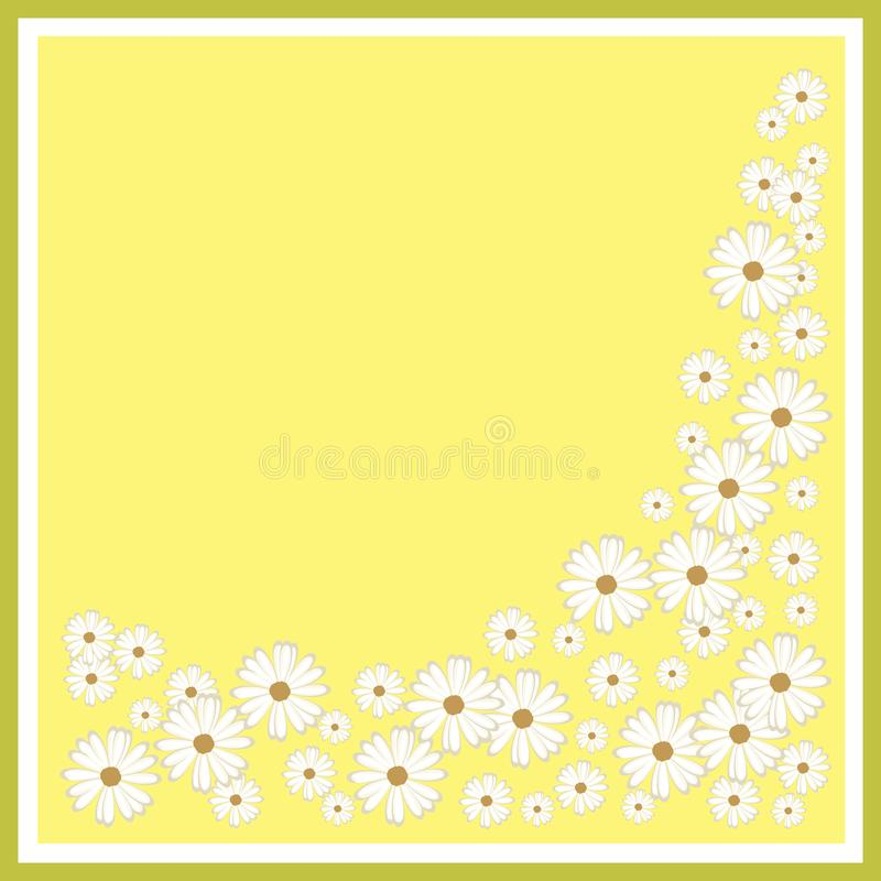 Abstract gebied van kamilles voor een kaart of het van letters voorzien op een beige achtergrond stock illustratie