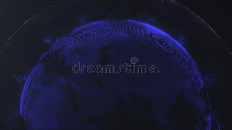 Abstract Gebied Verbonden marineblauwe punten met lijnen Globaliseringsinterface Gewassenfoto Bovenste helft van een gebied vector illustratie
