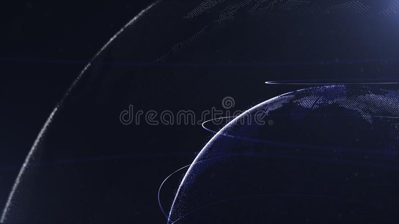 Abstract Gebied Verbonden marineblauwe punten met lijnen Globaliseringsinterface Puntenaccumulatie Sluit omhoog foto Planeet royalty-vrije illustratie